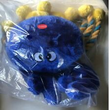"""Nautical Crab for Dog Toy Ribbed tough fabric15"""" Blue/Yellow"""