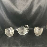 Lot of 3 Vintage Clear Glass Swan Creamer Bowls