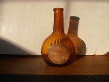 Antique orange amber ribbed glass flask with pontil original label rolled lip