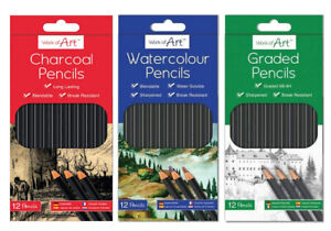 CHARCOAL WATER COLOUR & GRADED PENCILS DRAWING SET OF SCHOOL HB ARTIST COLOUR