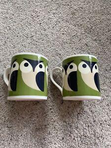 2 Orla Kiely Owl Mugs Green Unused