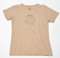 "Woman's LIFE IS GOOD Brown T-Shirt ""Happy Hour"" Short Sleeve Size Medium M"