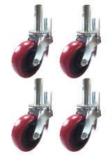 "4 pcs Scaffold Caster 6"" x 2"" Red PU Wheel Locking Brake 1-3/8"" Stem 3600 lbs."