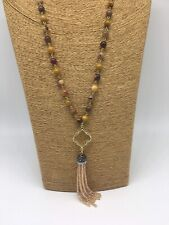 Fashion jasper Stones Beads Rosary Chain Crystal Tassel Necklace woman gift