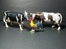 Schleich Farm Animals Rooster, Cow, Longhorn Steer Lot