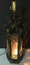"24"" Wrought Iron Style Metal Gothic Mid Century Lamp w/ Colored Glass Table Lamp"
