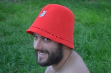 Felt hat made of rabbit wool, Hat for the sauna, red hat for the sauna, Bath, Wo
