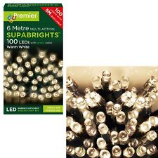 Premier 100 Multi-Action Supabrights LED Lights on Green Cable - Warm White