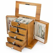 Large Real Natural Hardwood Wooden Jewelry Box Locked w/ a Key (WJC5AK) s7