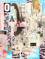 SIGNED ORIGINAL Mixed Media Collage Art Nez Peek Abstract Modern Expressionism