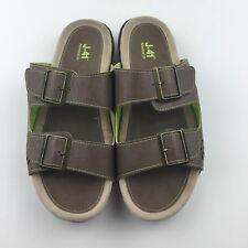 J-41 Size 8.5 Adventure On Sandal Slides Open Toe Double Buckle Brown Slip