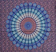 Indien peacock mandala cotton wall hanging bohemian tapestry bedspread king size