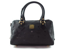 Auth MCM Logo Pattern Black Nylon, Leather Black Mini Boston Bag MB3229L