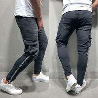 Men Stretchy Frayed Biker Denim Jeans Destroyed Ripped Casual Skinny Slim Pants