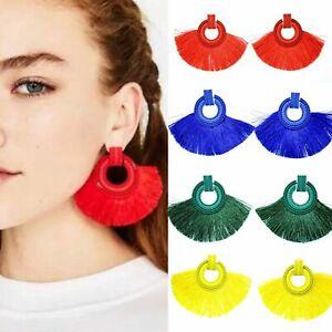 Coloured Dangle Earrings Tassels Fan Round Ear Studs Statement Geometry Drop