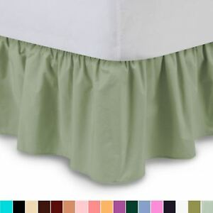 Solid Ruffled Bed Skirt, Complete Dust Ruffle-14 Colors and All Sizes