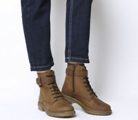 Womens Office Alpaca Stud Detail Lace Up Biker Boots Brown Leather Boots