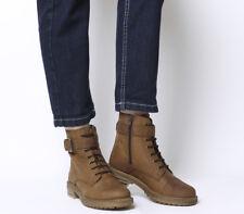 c892ba8c997 Womens Office Alpaca Stud Detail Lace Up Biker Boots Brown Leather Boots