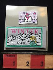 Woven Patch Lot (like a label on back) ~ Snow Mountain & Snowman 71U5