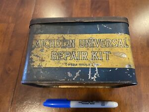 Vintage Michelin Tire Repair Tin. Great Patina. Man Cave Display. Rare W Hinge