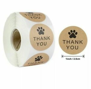 DOG PAW THANK YOU STICKERS LABELS ANIMAL PAW PAPER