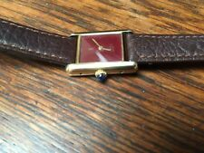 Cartier Genuine Leather Strap Rectangle Wristwatches