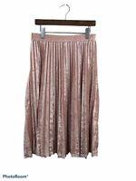 A New Day Women's Blush Pink Crushed Velvet Pleated Flare Skirt Size Medium