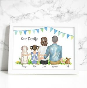 PERSONALISED FAMILY PEOPLE AND PETS PRINT - BUILD YOUR OWN FAMILY PETS GIFT