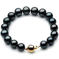 New Pacific Pearls® 11-13mm Black Tahitian Pearl Diamond Bracelet Birthday Gifts