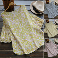 UK 8-24 Women Holiday Summer Floral Round Neck Cold Shoulder Tops Shirt Blouses