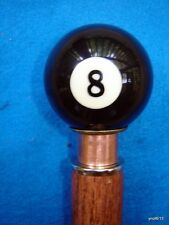 HandCrafted functional Walnut/Oak 8-pool-ball *security* CANE/WALKING-STICK~gift