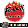 fireball gasoline decal / sticker retro vintage look reproduction 95x95mm