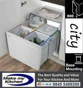 Hafele 48ltr City Kitchen Pull Out Waste Bins 4 x 12ltr 600mm Unit