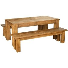 any size made NEW SOLID WOODEN DINING TABLE AND BENCHES CHUNKY RUSTIC PLANK PINE
