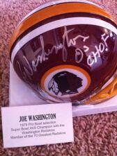 "Joe Washington Signed Auto Redskins Mini Helmet Tri Star COA ""05 CHOF"" Inscript"