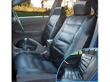 BLACK LUXURY LEATHER LOOK FRONT & REAR CAR SEAT COVERS UNIVERSAL FIT SC8 (D)