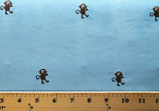 Embroidered Corduroy Cotton Blue Baby Monkey Monkeys Fabric Print BTY - 7602C-9L