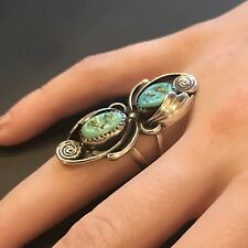 Vintage Navajo Silver Turquoise Ring Long Ring Blue Green Size 5 Southwest Pawn