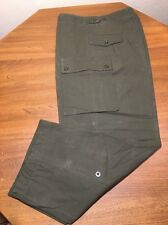 "DUTCH HEAVY CANVAS BDU PANTS MILITARY SURPLUS OLIVE GREEN UNLINED 34x35"" Meas."
