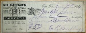 Domestic Sewing Machine 1881 Receipt/Check - Erie, PA Pennsylvania Penn