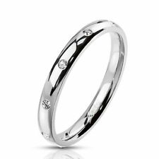 Stainless Steel 10 CZ 3mm Eternity Band Ring Rainbow Rose Gold Silver