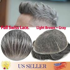 Mens Toupee Hairpiece Full SWISS LACE Basement Wig Human Hair Replacement System