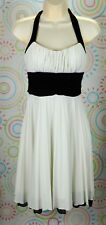 New Womens Sleeveless Halter Strap White Ivory And Black Dress S Small NWOT
