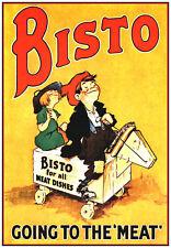 VINTAGE Bisto Pubblicità Poster A3 RISTAMPA