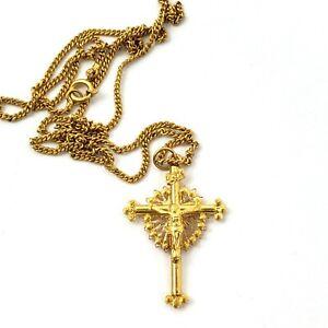 19K Yellow Gold Portuguese Crucifix Cross Chain Necklace Portugal