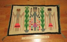 New listing Vintage Early Native American Indian Navajo Small Yei Corn God Blanket Rug 24x15