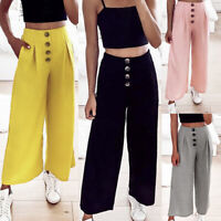 Fashion Casual Womens High Waist Button Pleated Pants Wide Leg Elastic Trousers