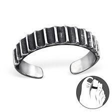 Tjs 925 Sterling Silver Toe Ring Ridge Line Pattern Adjustable Jewellery