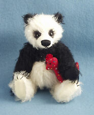 Deb Canham SOLD OUT mohair panda bear with red calico chicken doll 6 signed tag
