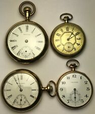Lot of 4 American Pocket Watches in Gold-Filled Cases, Waltham & Illinois